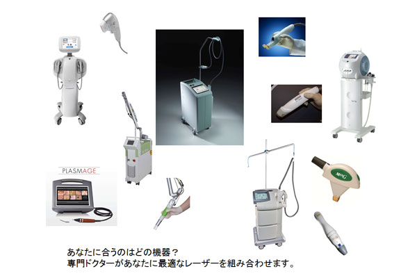 7種類の機器と9種類の治療法